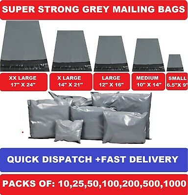 £4.55 • Buy Grey Mailing Bags Strong Poly Postal Post Postage Self Seal Packaging Strong