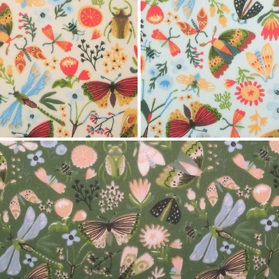 £4.40 • Buy Bug Minibeast Fabric - Dragonfly Butterfly Beetle Insect - Polycotton Material