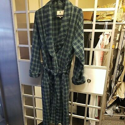 $14 • Buy Lee Valley Made In Ireland Plaid Flannel Robe Size Med Navy Blue 100% Cotton