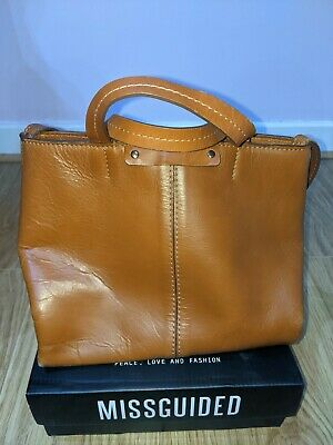 £15 • Buy Used Leather Tan Zara Shoulder Bag With Strap/short Handles And Button Fastening