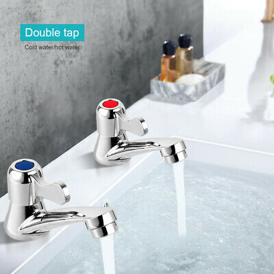 £12.88 • Buy Lever Basin Sink Taps Pillar Disabled 1/4 Turn Chrome Pair 1/2  Hot & Cold Set