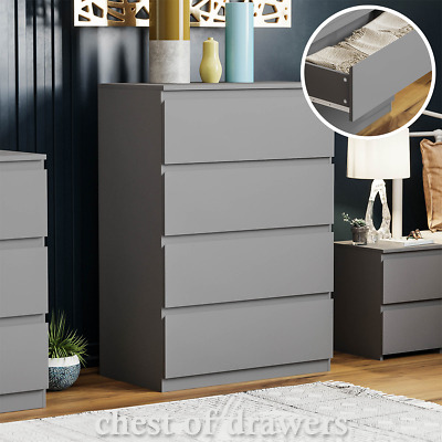 £69.95 • Buy Modern Grey 4 Drawer Chest Of Drawers Wardrobe Bedside Cabinet Sideboard Tall