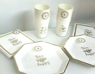£13.99 • Buy Bee Happy Gold Bumble 🐝 Disposable Party Tableware Cups, Plates & Napkins NEW