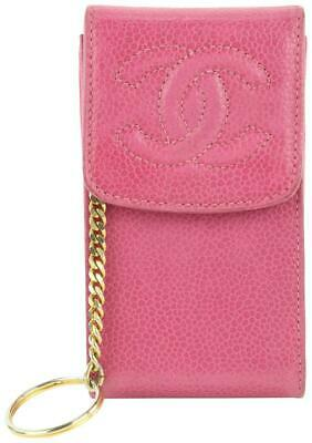 £455.95 • Buy Chanel Pink Caviar Leather Cigarette Or Mobile Phone Case Keychain 6cas421