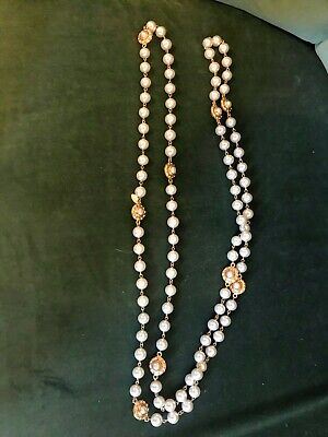 £600 • Buy Chanel Vintage Long Gold Tone And Pearl Necklace