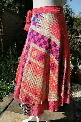 One Size Silk Wrap Skirt Reversible Indian Ethnic Hippy Festival Coral Pink • 15.95£