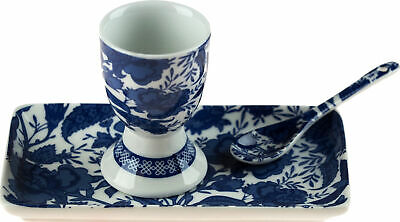 £12.99 • Buy 3 Piece Egg Cup Spoon Tray Set - Willow Blue White Oriental Floral Design