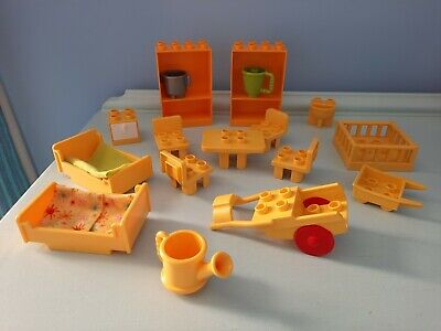 £12.99 • Buy Duplo Yellow House Furniture Beds Table Chairs Shelf Units