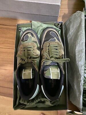 £225 • Buy Valentino Mens Rockstud Camouflage Trainers / Sneakers / Shoes Size 10uk
