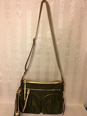 $225 • Buy MZ WALLACE Paige Crossbody Nylon Shoulder Bag W/ Pouch Olive Green