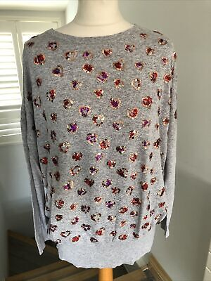 Halston Heritage Ladies Grey Sequins Long Sleeves Jumper Oversized S Can Fit L • 25£