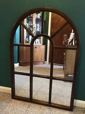 £145 • Buy Vintage Gothic Rustic Window Mirror Arched Mahogany Solid Wood Antique Boho