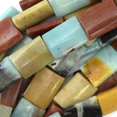 $5.99 • Buy 20mm Multicolor Amazonite Pillow Rectangle Beads 16  Strand