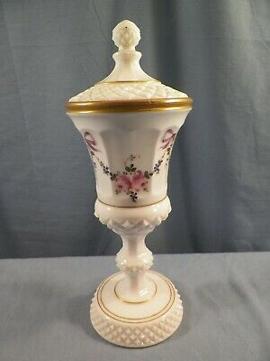 $24.99 • Buy Westmoreland Milk Glass Hand Painted Roses & Bows Covered Urn Candy Dish