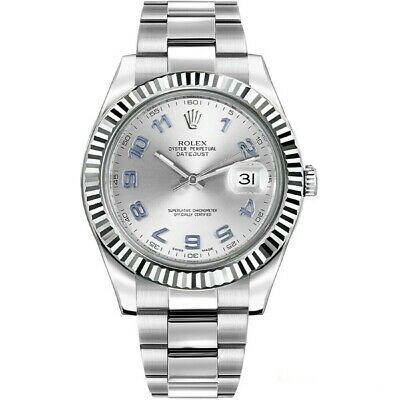 $ CDN12736.87 • Buy Rolex Datejust II Stainless Steel White Gold Silver Arabic Dial Watch 116334