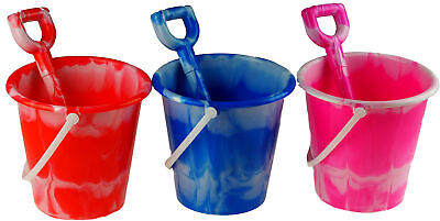 £11.99 • Buy Set Of 3 Round Marble Bucket And Spade - Pink Blue Red