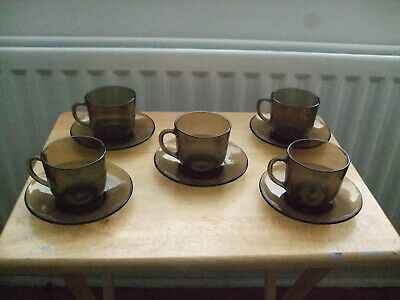 £12 • Buy 1970's Vintage French 'Vereco' Smoked Glass Coffee Cups & Saucers X 5