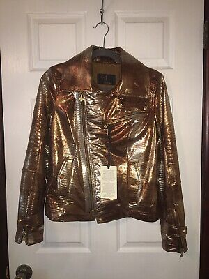 £101.40 • Buy Gold Leather Jacket Motorcycle Biker Made In Turkey - NWT