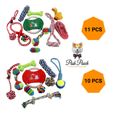 £9.99 • Buy Dog Rope Chew Toy Set Puppy Durable Cotton Toys Clean Teeth Bite Ball Anxiety