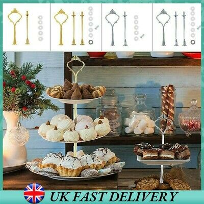 £6.68 • Buy 2/3 Tier Cake Plate Stand Cupcake Fittings Silver Golden Wedding Cake Stand