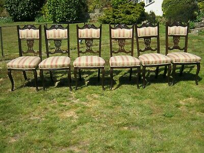 £125 • Buy Edwardian Mahogany Upholstered Dining Chairs Cabriole Legs Sprung Seats Set Six