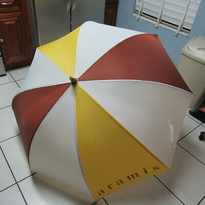 $ CDN47.19 • Buy Aramis Two Tone Spell Out Logo Rain Sun Umbrella Stained Wood Handle Vintage