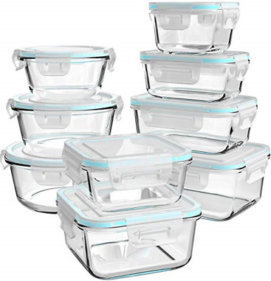 £35.22 • Buy Glass Food Storage Containers With Lids, [18 Piece] Glass Meal Prep Containers,