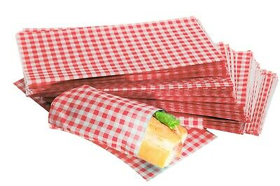 £5.99 • Buy Grease Proof Paper Sheets RED GINGHAM Design Duplex Food Burger Wraps 250x375mm