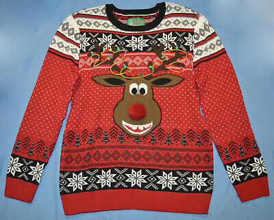 $23.95 • Buy Ugly Christmas Sweater NWT Red Rudolph Reindeer Pom Pom Nose Fair Isle XL $60