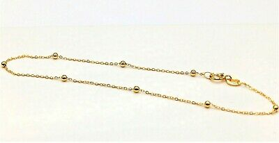 £29.95 • Buy 9CT GOLD BRACELET ANKLE 10 Inch FLAT TRACE  BEAD BALL CHAIN 9 CARAT GOLD  NEW