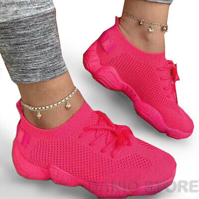 $ CDN25.49 • Buy WOMENS Girls SNEAKERS Breathable MESH RUNNING WALKING CASUAL Iridescent SHOES