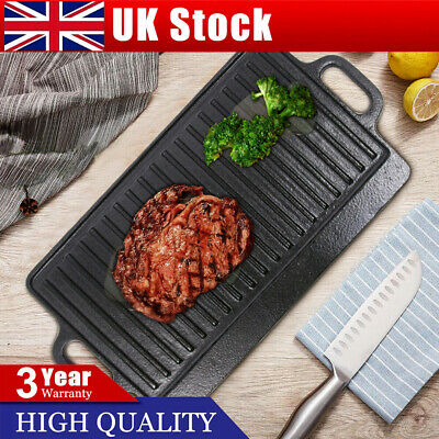 £20.99 • Buy Cast Iron Griddle Tray Plate With Handles 23*50 Cm Large Grill Pan Tray BBQ New