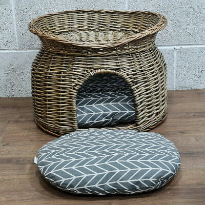 £34.97 • Buy Wicker Cat House Pet Bed Basket Kitten Tower Cozy Cave Cushions Grey
