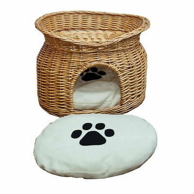 £34.96 • Buy Wicker Cat House Pet Bed Basket Kitten Tower Cozy Cave Cushions Honey