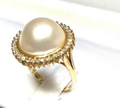 $399 • Buy 14K Yellow Gold 15mm White Freshwater Cultured Mabe Pearl Diamond Ring .85 Ct Tw