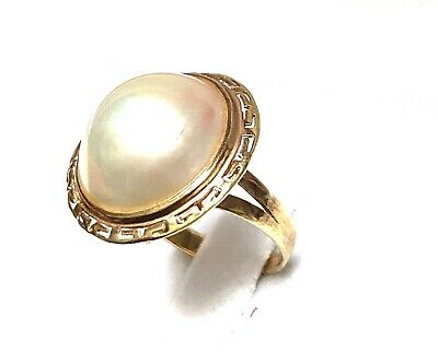 $269 • Buy 14k Yellow Gold Round Shaped Mabe Pearl Cocktail Statement Ring Size 6 3/4