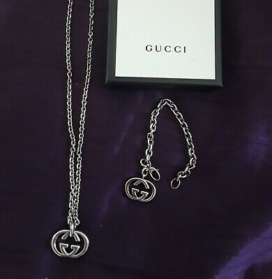 £450 • Buy Gucci Silver Necklace And Matching Bracelet