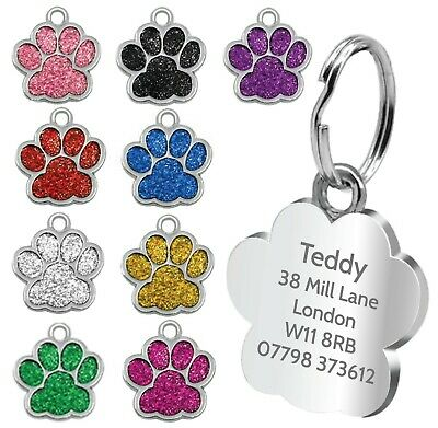 £2.75 • Buy Personalised Pet Tags Engraved Dog Cat Charm Glitter Name Collar Animal ID Neck