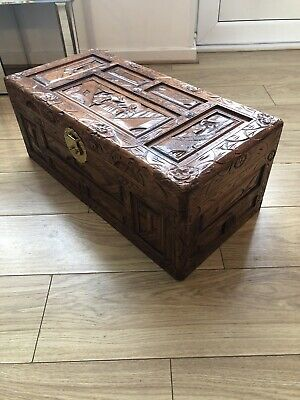 Carved Camphor Wood Chest • 145£