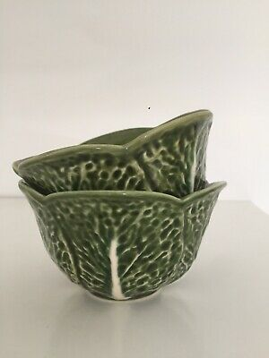£25 • Buy Olfaire Green Cabbage Leaf Pair Of Serving Bowls Majolica 14cm By 9cm