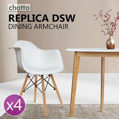 AU129.95 • Buy 4x Retro Replica DSW Dining Chairs White With Beech Leg Office Home Chair Cafe