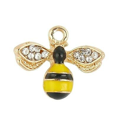 £1.85 • Buy Bee Charm Pendant Gold Plated Rhinestone Enamel Bumble Pack Of 2