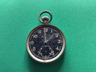 WW2 Pocket Watch/ Stop Watch Black Faced Chrome Not Working • 50£