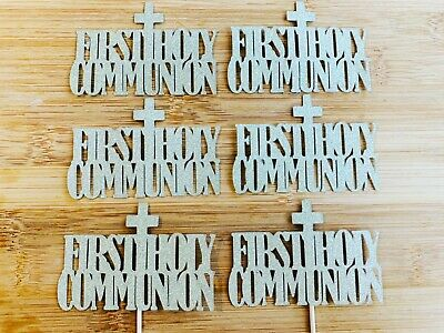 First Holy Communion Cupcake Toppers Gold Glitter Cake Decorations Picks • 3.75£