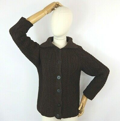 £39.99 • Buy Vintage Brown Cable Aran Chunky Pure Wool Rustic Hand Knit Cardigan Sweater S 10