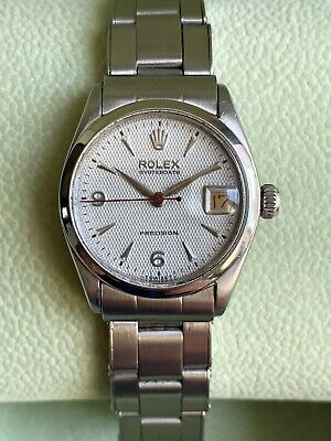 AU1505.50 • Buy Rolex Oysterdate Precision 6266 Honeycomb Dial Rivet Bracelet Midsize 30mm Watch