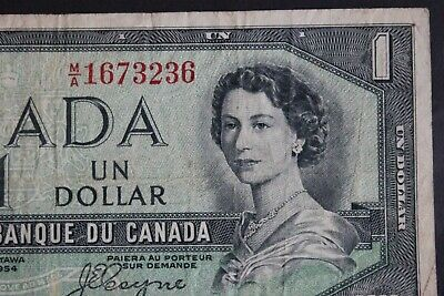 1954 Bank Of Canada $1 Dollar BC-29b, DEVIL FACE Queen Elizabeth II • 3.24£