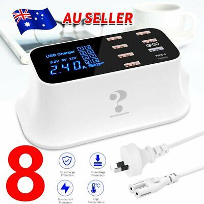 AU36.89 • Buy 8-Ports USB Charger Power Adapter QC 3.0 + Type C Desktop Fast Charging Station