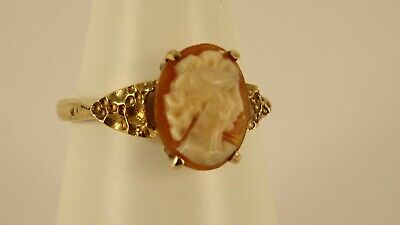 £72 • Buy Vintage Hallmarked Fancy 9ct Gold CAMEO Ring 2.2gr 1cm Sz M 1/2 Hm1977 101aa