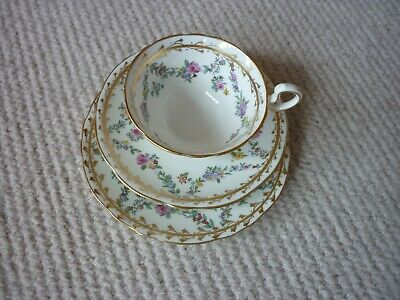 £20 • Buy Aynsley Tea Set 3 Items Trio Pattern Pink Lilac And Yellow Rose Garlands A2153F